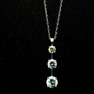 """10K White Gold CZ Necklace 18"""""""
